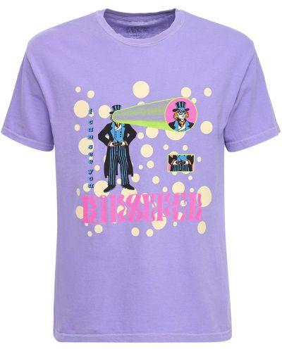 Fioletowy t-shirt bawełniany z printem Kidsuper Studios