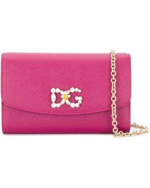 Золотистый кожаный сумка на цепочке на молнии Dolce & Gabbana