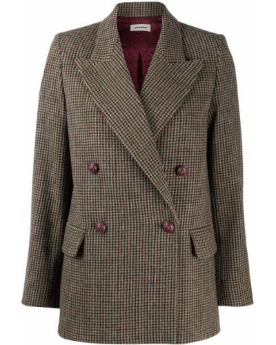 Шерстяной коричневый удлиненный пиджак двубортный Zadig&voltaire
