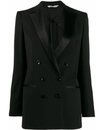 Прямой черный удлиненный пиджак с карманами Tonello