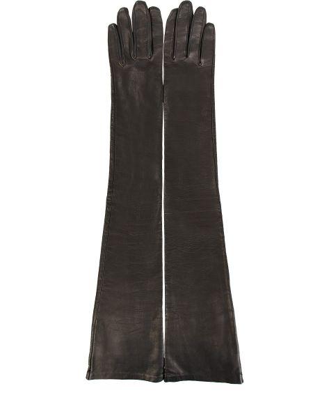 Черные шелковые перчатки длинные с декоративной отделкой Sermoneta