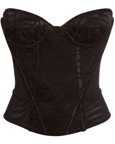 Сатиновый черный корсет с подкладкой Vivienne Westwood