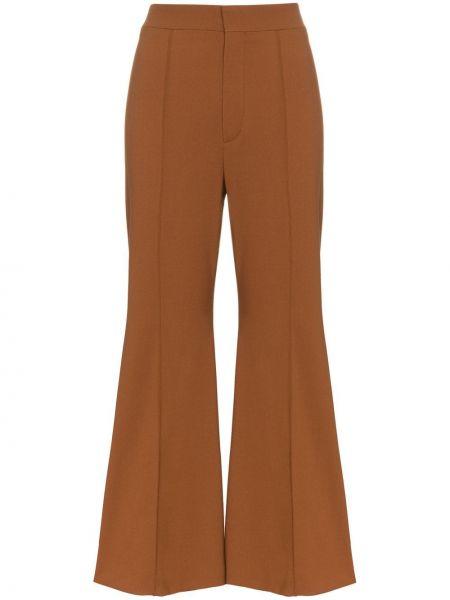 Шерстяные коричневые расклешенные брюки Chloé