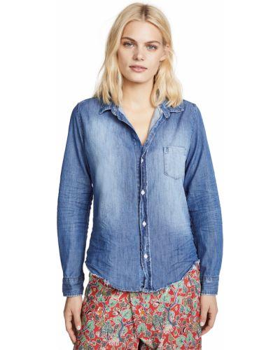 Хлопковая синяя джинсовая рубашка с длинными рукавами Frank & Eileen