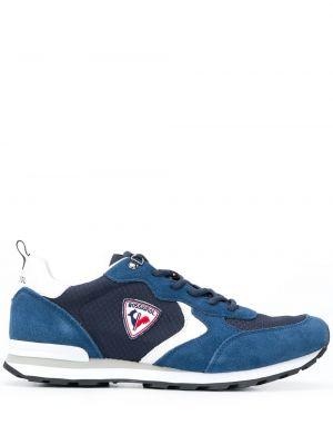 Кожаные синие кроссовки с заплатками на шнуровке Rossignol