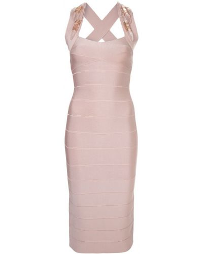 Приталенное платье миди - розовое Herv Lger