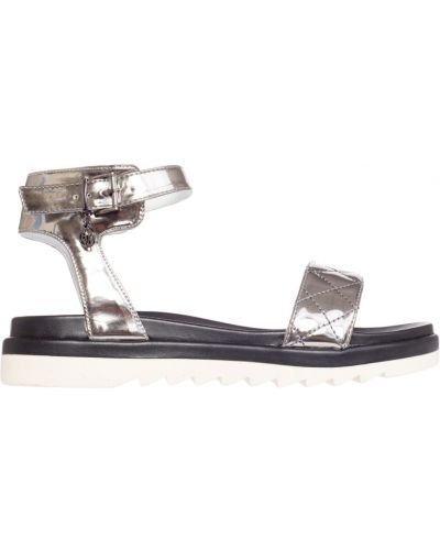 Сандалии на каблуке серебряного цвета Armani Jeans