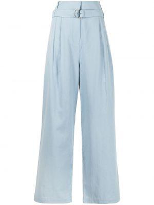 Niebieskie spodnie z wysokim stanem bawełniane Tibi
