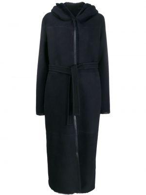 Синее кожаное длинное пальто с капюшоном Liska