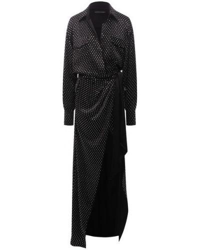 Черное платье из полиэстера David Koma