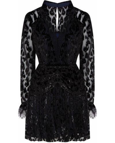 Платье мини леопардовое с прозрачными рукавами Self-portrait