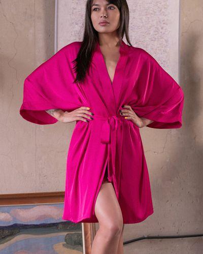 Шелковый халат - розовый Forli