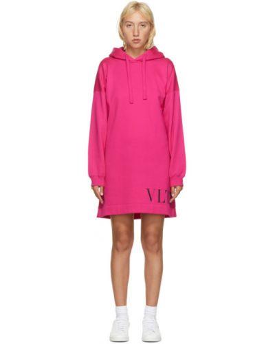 Розовое платье макси с капюшоном с длинными рукавами с манжетами Valentino