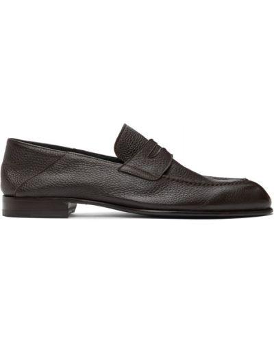 Czarne loafers skorzane kaskadowe Brioni