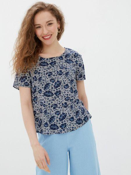 Блузка с коротким рукавом синяя весенний Baon