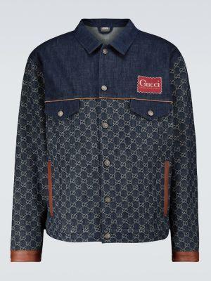 Ватная синяя кожаная джинсовая куртка Gucci