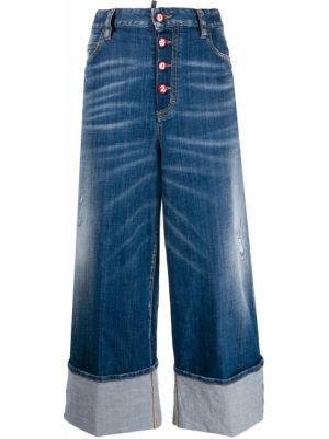 Хлопковые синие широкие джинсы на пуговицах свободного кроя Dsquared2