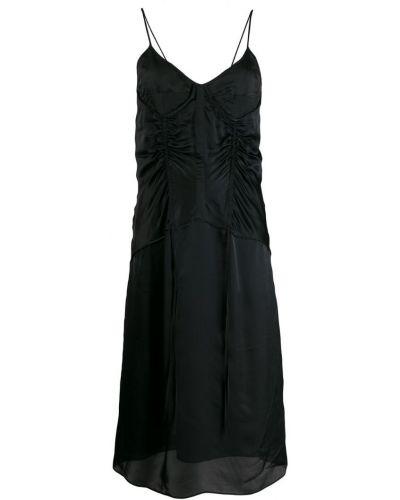 Черное тонкое платье миди на бретелях Olivier Theyskens