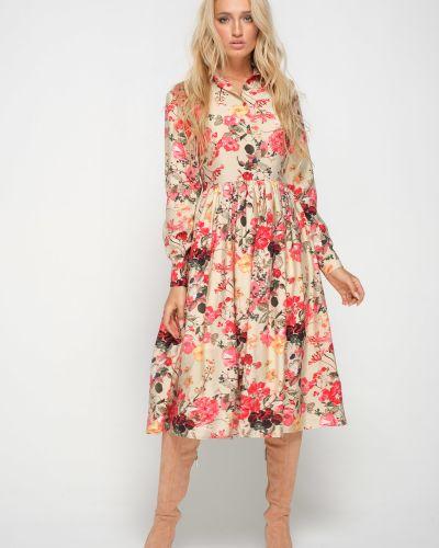 Платье миди из штапеля с цветочным принтом Leleya