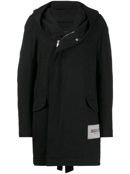 Czarny płaszcz przeciwdeszczowy z kapturem bawełniany Rick Owens