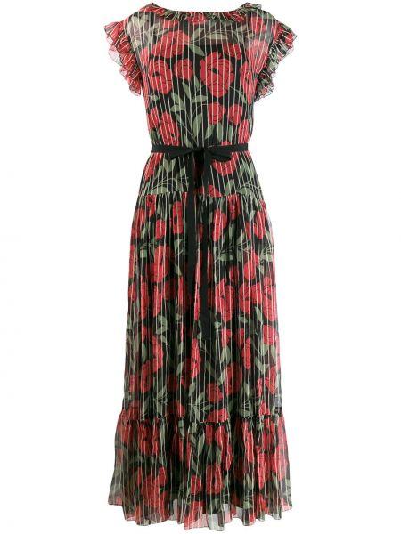 Платье мини с цветочным принтом плиссированное Red Valentino