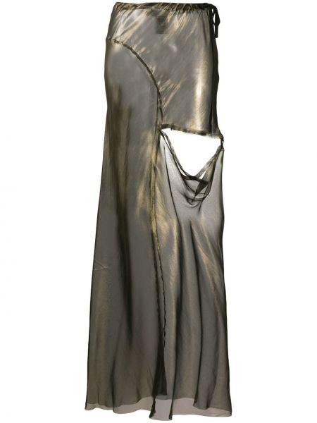 Золотистая шелковая желтая юбка макси с вырезом Ann Demeulemeester