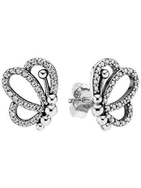 Серебряные серебряные серьги с бабочками Pandora