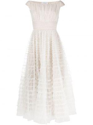 С рукавами шелковое белое платье миди Giambattista Valli