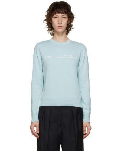 Кашемировый синий свитер с воротником с длинными рукавами A.p.c.