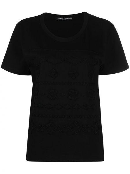 Черная футболка с вырезом с вышивкой Ermanno Scervino