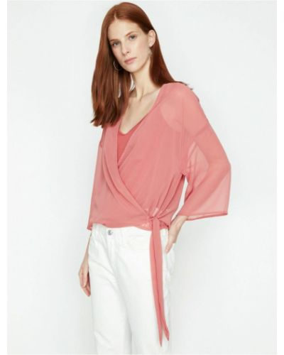 Bluzka z dekoltem w serek - różowa Koton