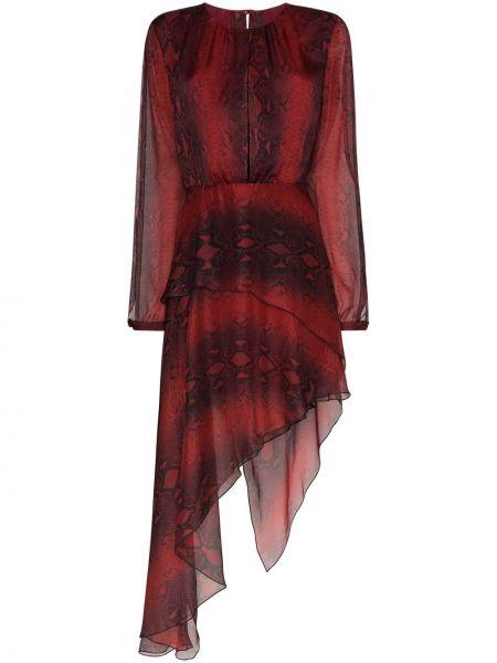 Красное шелковое платье Amiri