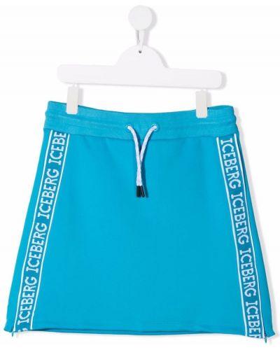Niebieska spódnica z wiskozy z haftem Iceberg Kids