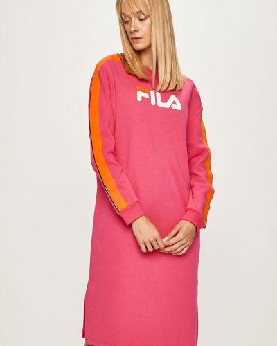 Прямое розовое платье миди с вырезом Fila