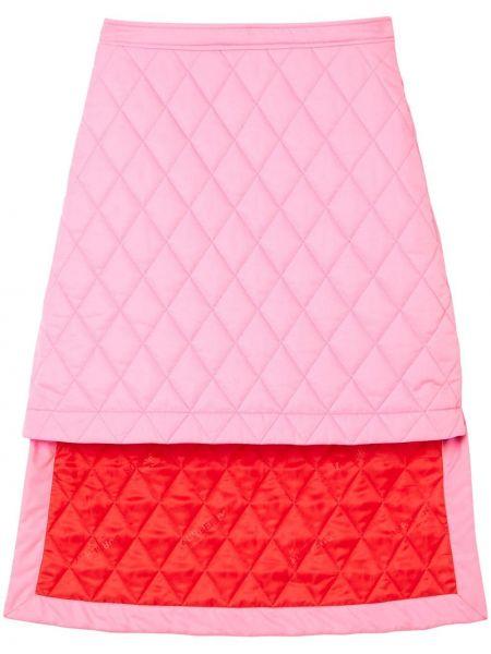 Стеганая асимметричная розовая юбка Burberry