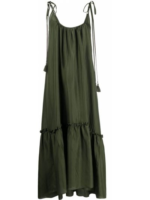 Шелковое зеленое платье миди трапеция P.a.r.o.s.h.