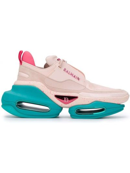 Różowe sneakersy skorzane sznurowane Balmain