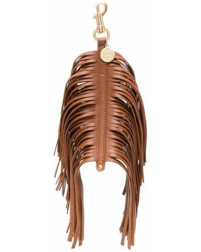 Коричневый кожаный брелок с кисточками See By Chloé