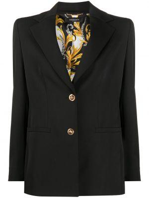 Шерстяной однобортный черный пиджак Versace