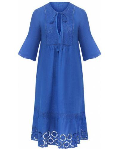 Платье с декольте с цветочным принтом 120% Lino