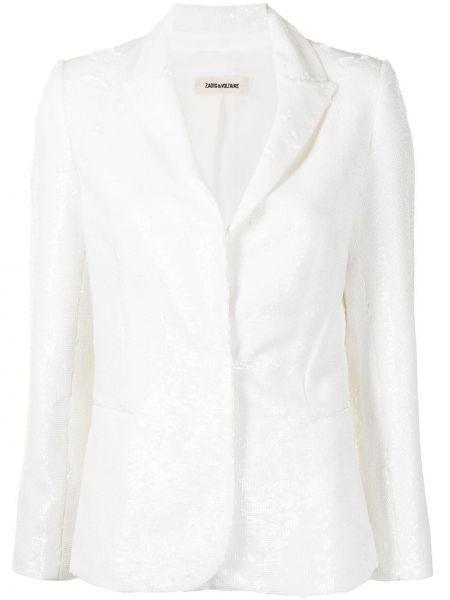 Белый удлиненный пиджак с пайетками с подкладкой Zadig&voltaire