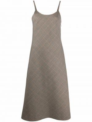 Шелковое платье миди - коричневое Maison Margiela
