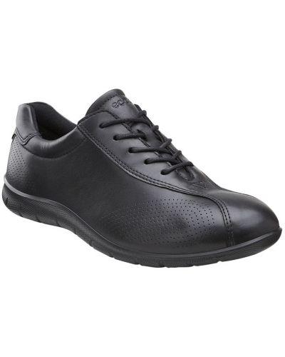 Кожаные кроссовки черные текстильные Ecco