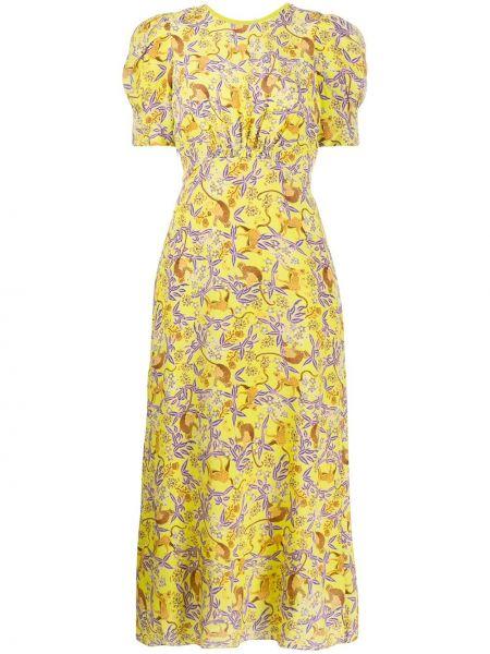 Fioletowa sukienka midi w kwiaty z jedwabiu Saloni