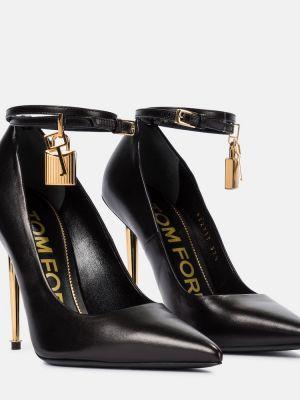 Черные кожаные туфли-лодочки Tom Ford