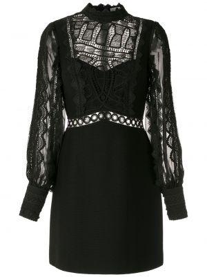 Кружевное с рукавами черное платье мини Martha Medeiros