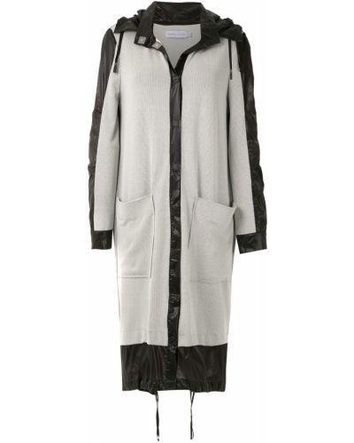 Серое длинное пальто с капюшоном Mara Mac