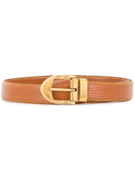 Золотистый коричневый кожаный тонкий ремень Louis Vuitton