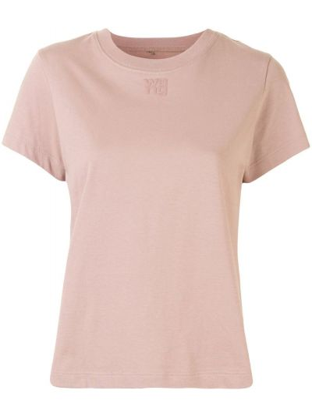 Хлопковая розовая футболка с вышивкой с круглым вырезом T By Alexander Wang