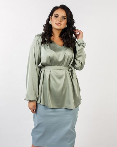 Блузка с кокеткой с поясом Jetti-plus